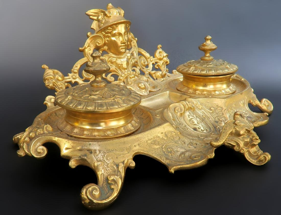 19th C. French Figural Bronze Inkwell - 3