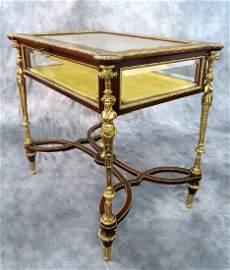 19th C. F. Linke Figural Bronze Vitrine Table