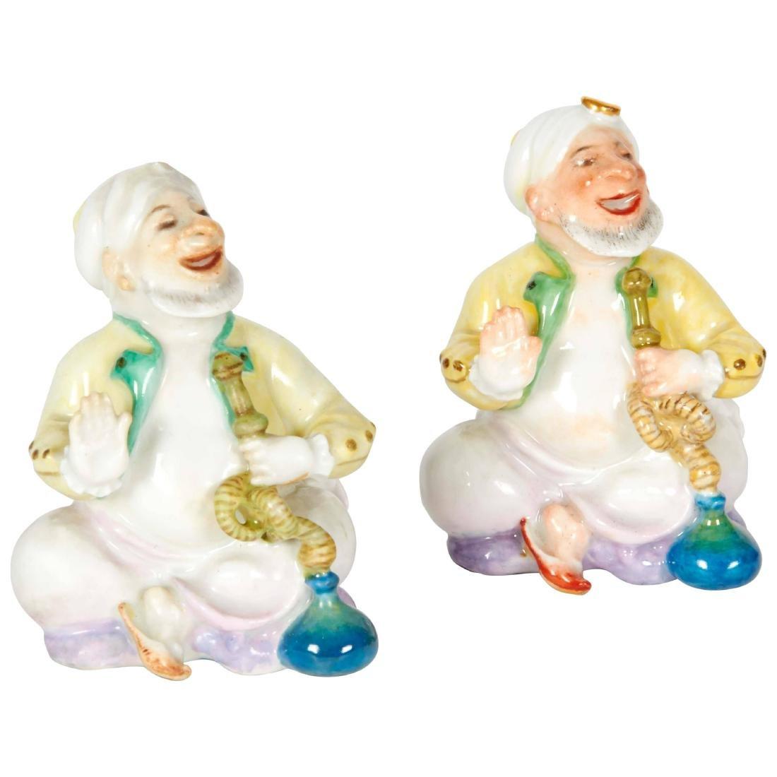 """A Pair of Turks Smoking Hookah """"Meissen"""" Figurines"""