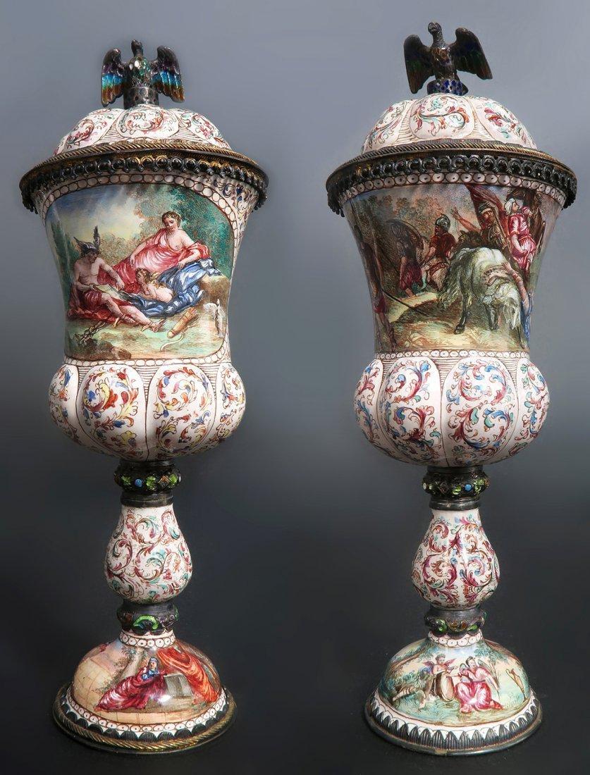 A Pair of Austrian/Viennese Enamel & Silver Urns