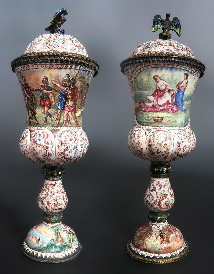 A Pair of Austrian/Viennese Enamel & Silver Urns - 2