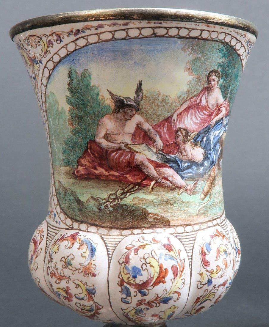 A Pair of Austrian/Viennese Enamel & Silver Urns - 7