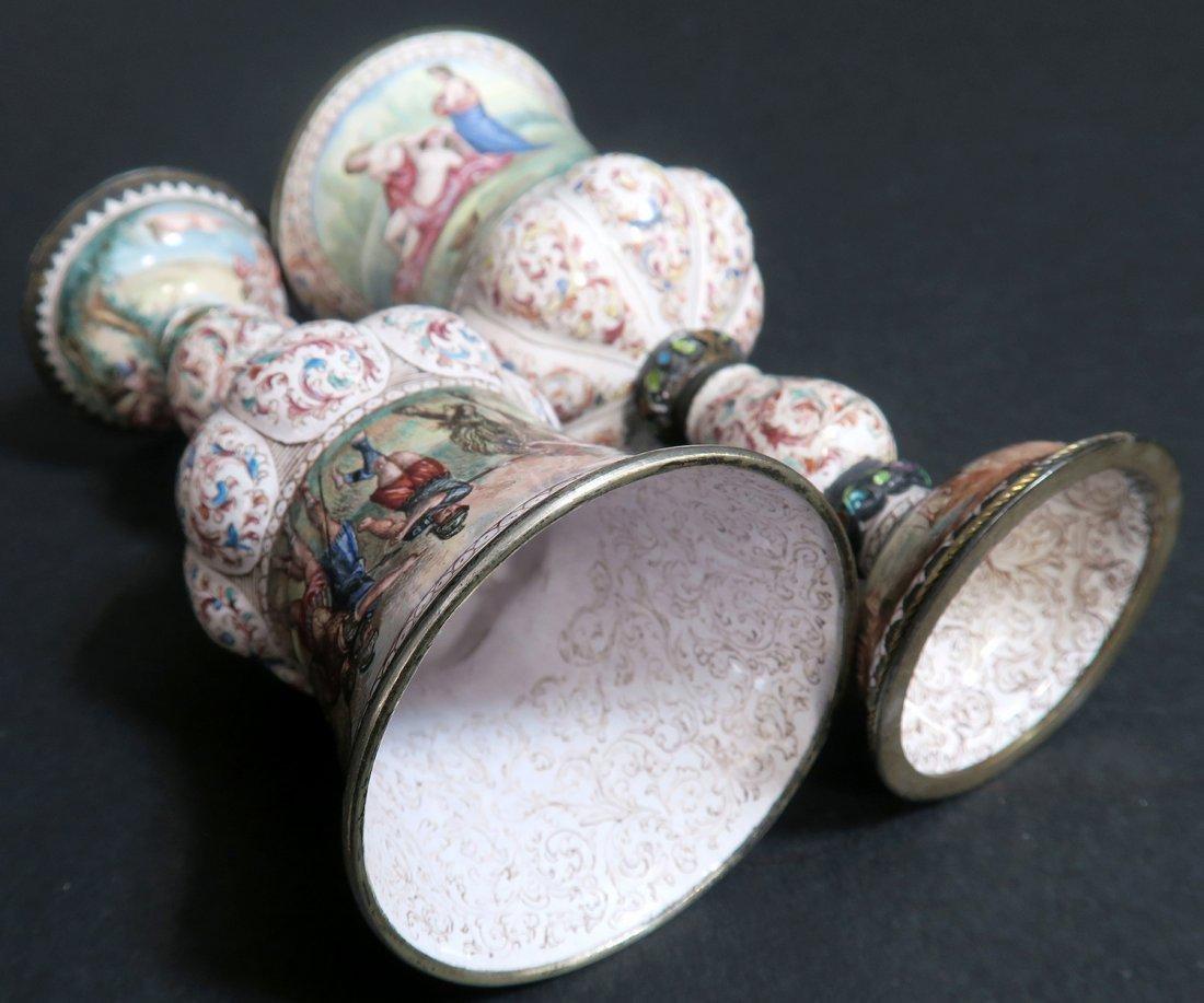 A Pair of Austrian/Viennese Enamel & Silver Urns - 8
