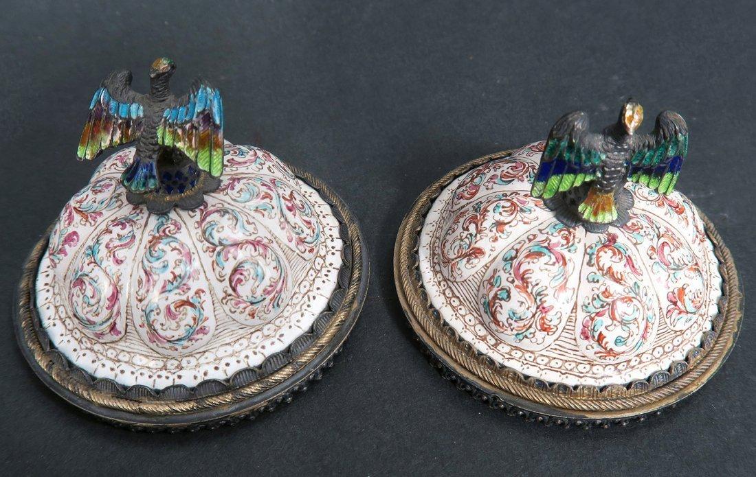 A Pair of Austrian/Viennese Enamel & Silver Urns - 9