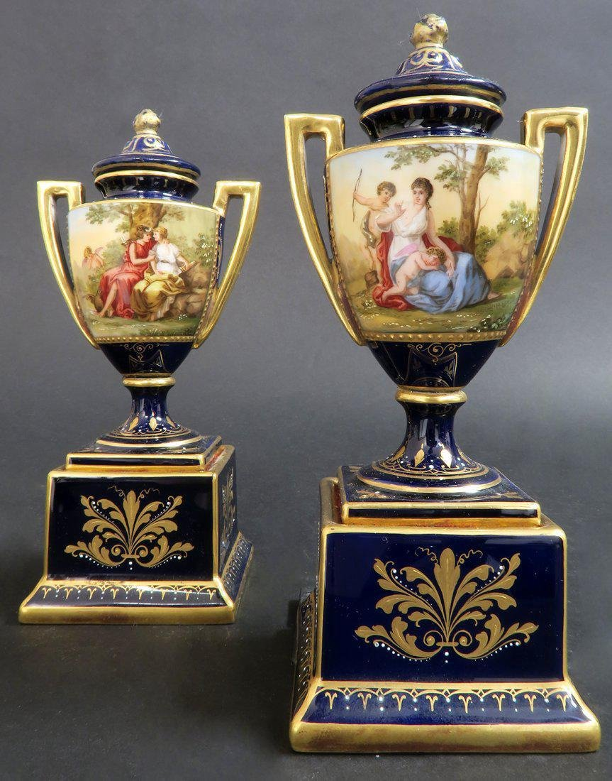 Pair of Hand Painted Royal Vienna Vases - 2
