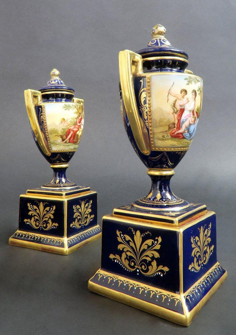 Pair of Hand Painted Royal Vienna Vases - 4