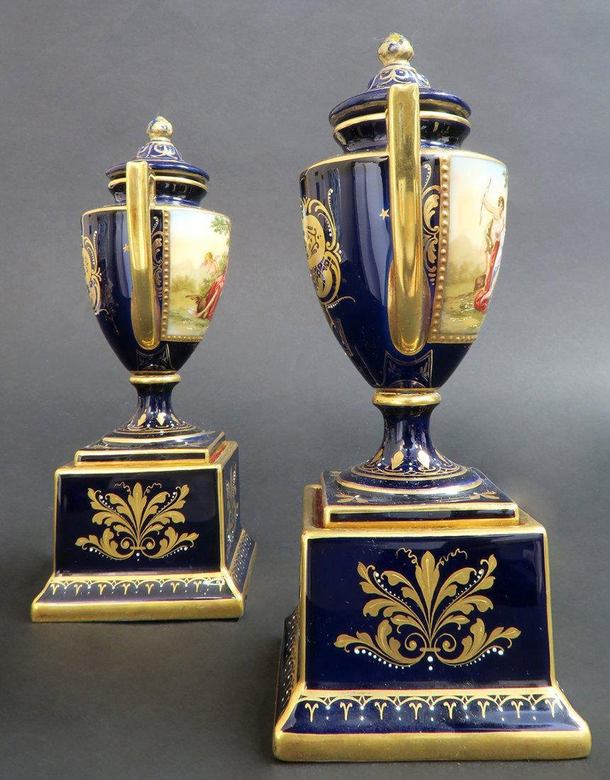 Pair of Hand Painted Royal Vienna Vases - 5