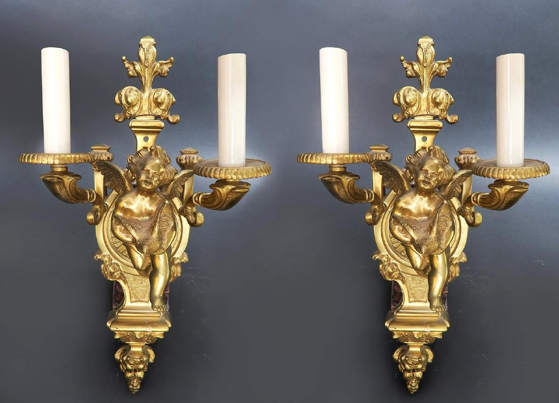 A Pair Of French Figural Bronze Wall Sconces