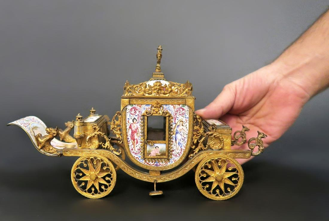 Very Large Viennese Enamel & Bronze Carriage