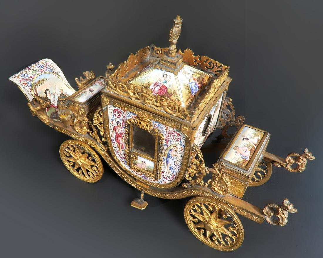 Very Large Viennese Enamel & Bronze Carriage - 2