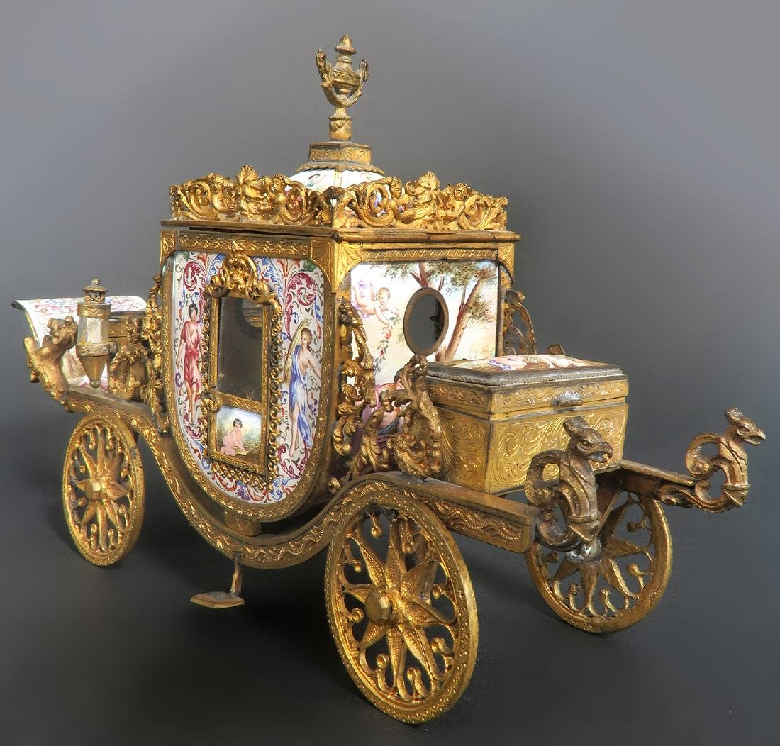 Very Large Viennese Enamel & Bronze Carriage - 4