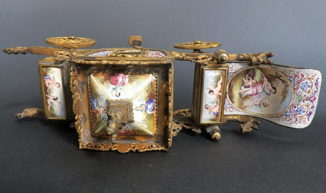 Very Large Viennese Enamel & Bronze Carriage - 9