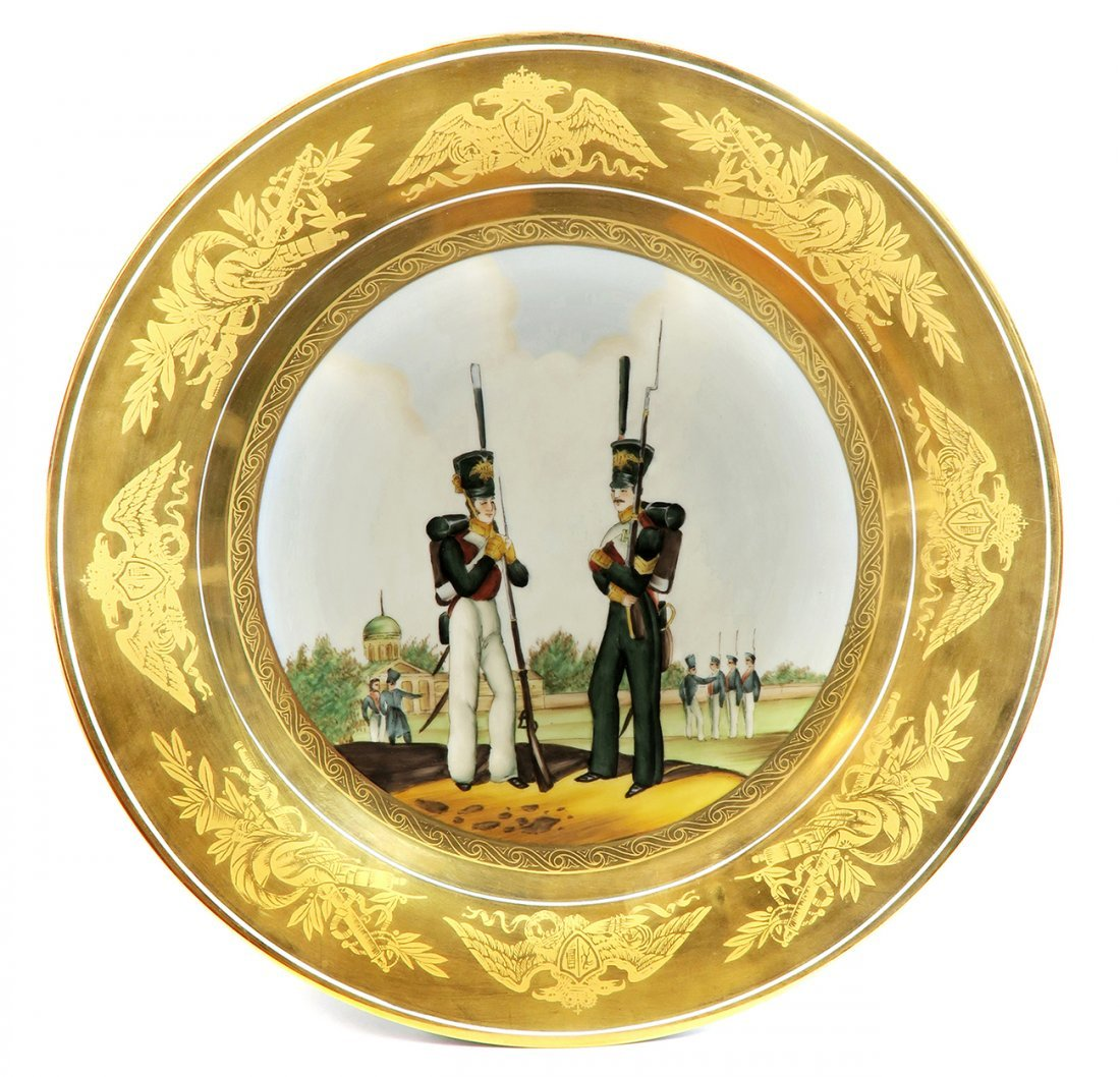 """Imperial Russian Soldiers"" Hand Painted Military Plate"