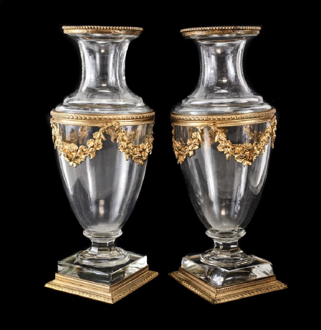 Pair of French Art Glass and Gilt Bronze Footed Vases - 3