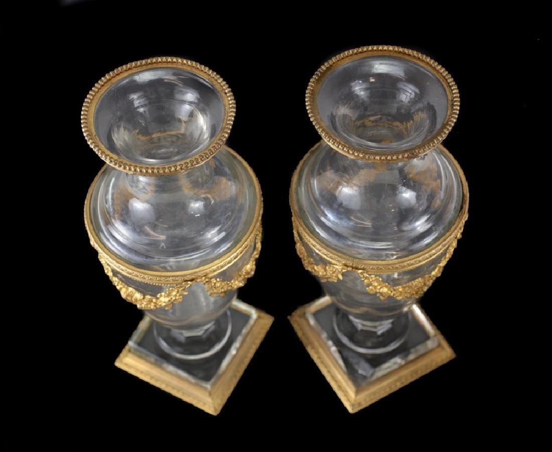 Pair of French Art Glass and Gilt Bronze Footed Vases - 4