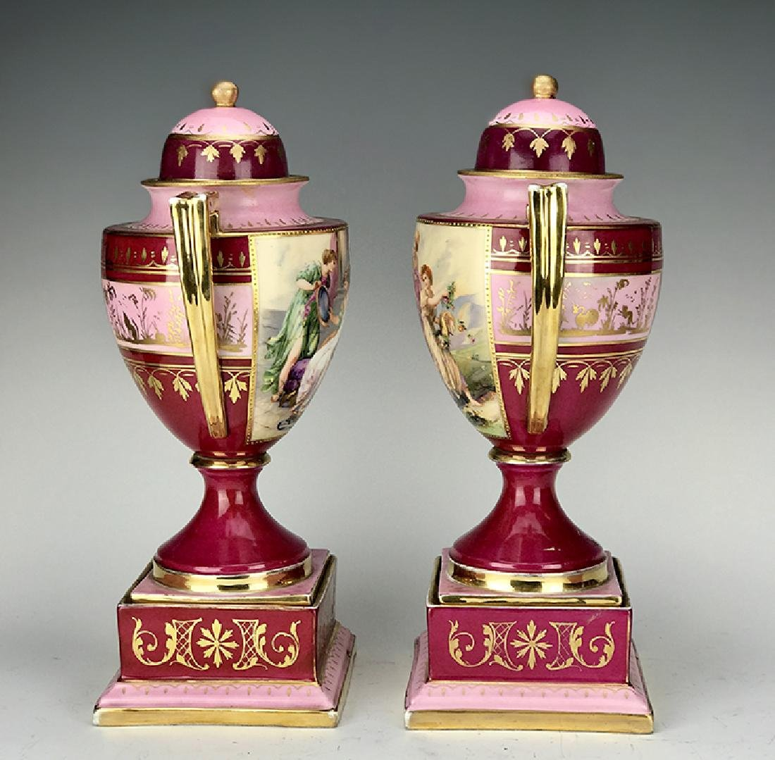 19th C. Pair of Royal Vienna Hand Painted Vases - 5
