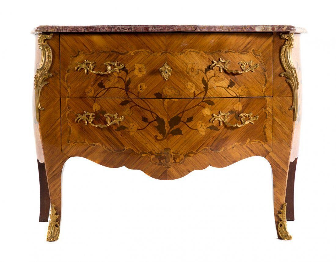 Louis XV style Ormolu Mounted Marquetry Commode