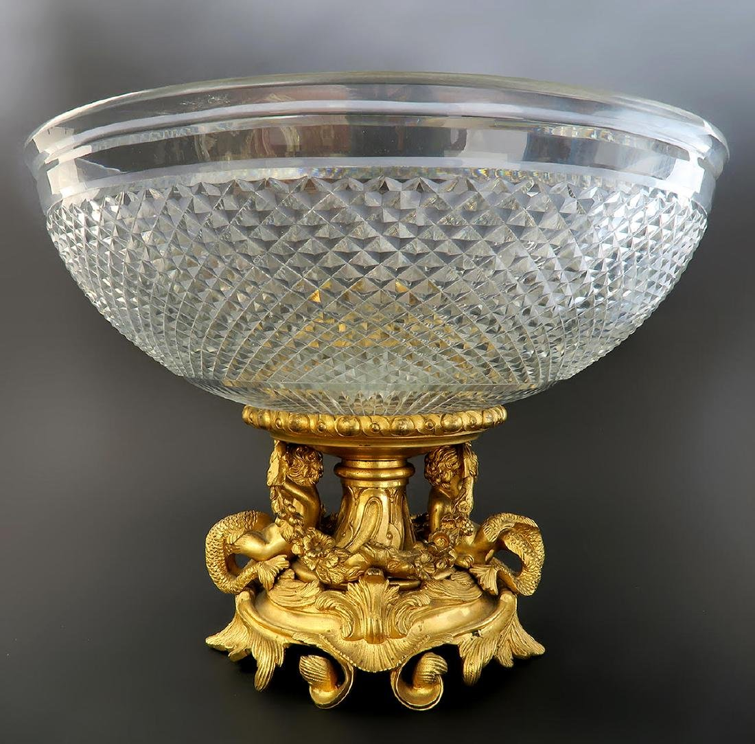French Baccarat Crystal & Figural Bronze Centerpiece - 2