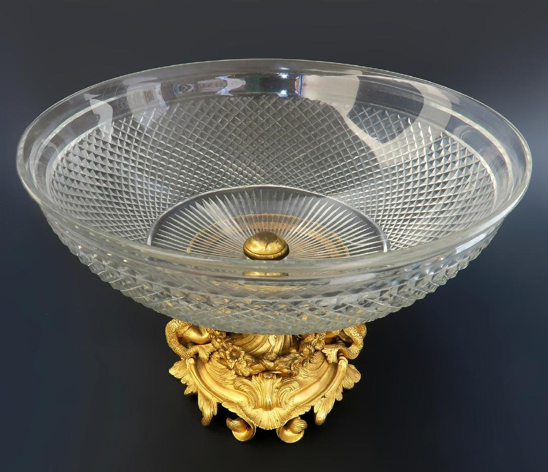 French Baccarat Crystal & Figural Bronze Centerpiece - 3