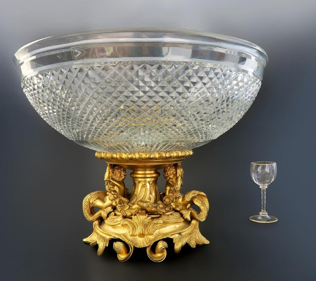 French Baccarat Crystal & Figural Bronze Centerpiece - 4