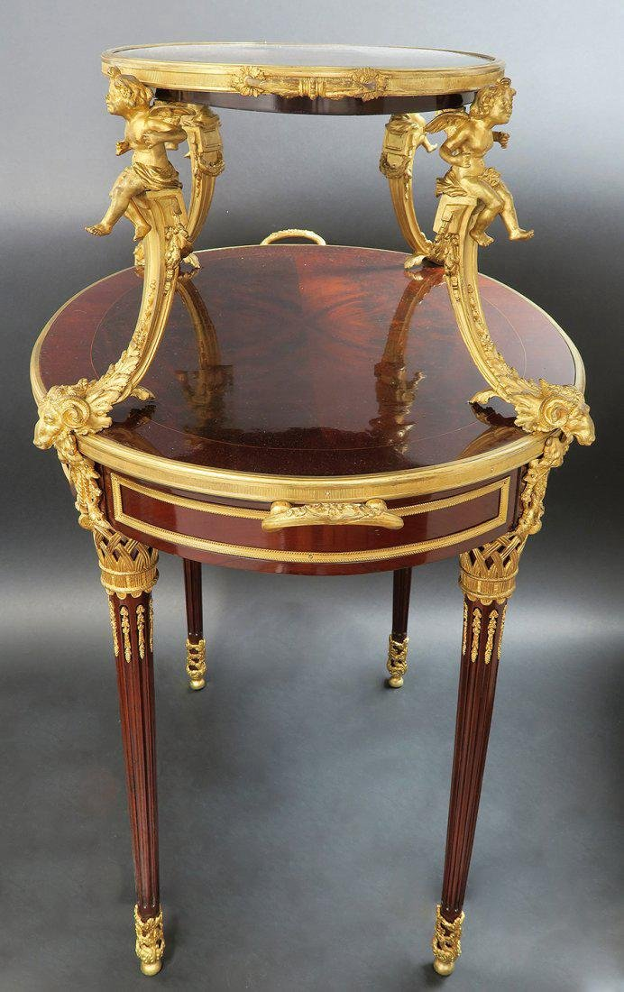 """F.Linke"" Signed Gilt Bronze Mounted Figural Tea Table - 4"