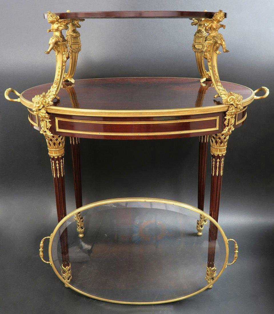 """F.Linke"" Signed Gilt Bronze Mounted Figural Tea Table - 5"
