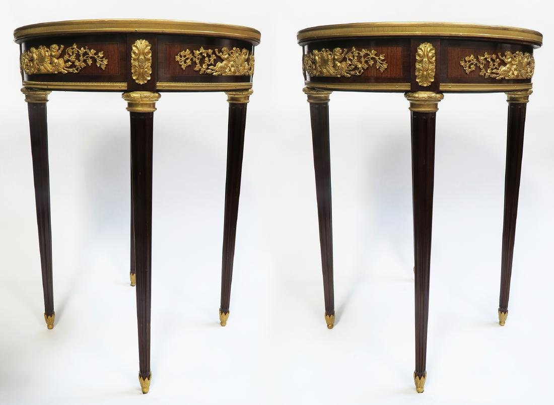 """Pair of Fine French """"Linke"""" Side Tables. Signed! - 3"""