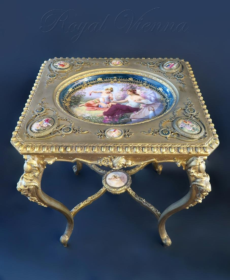 Royal Vienna Gilt wood & Porcelain Side Table