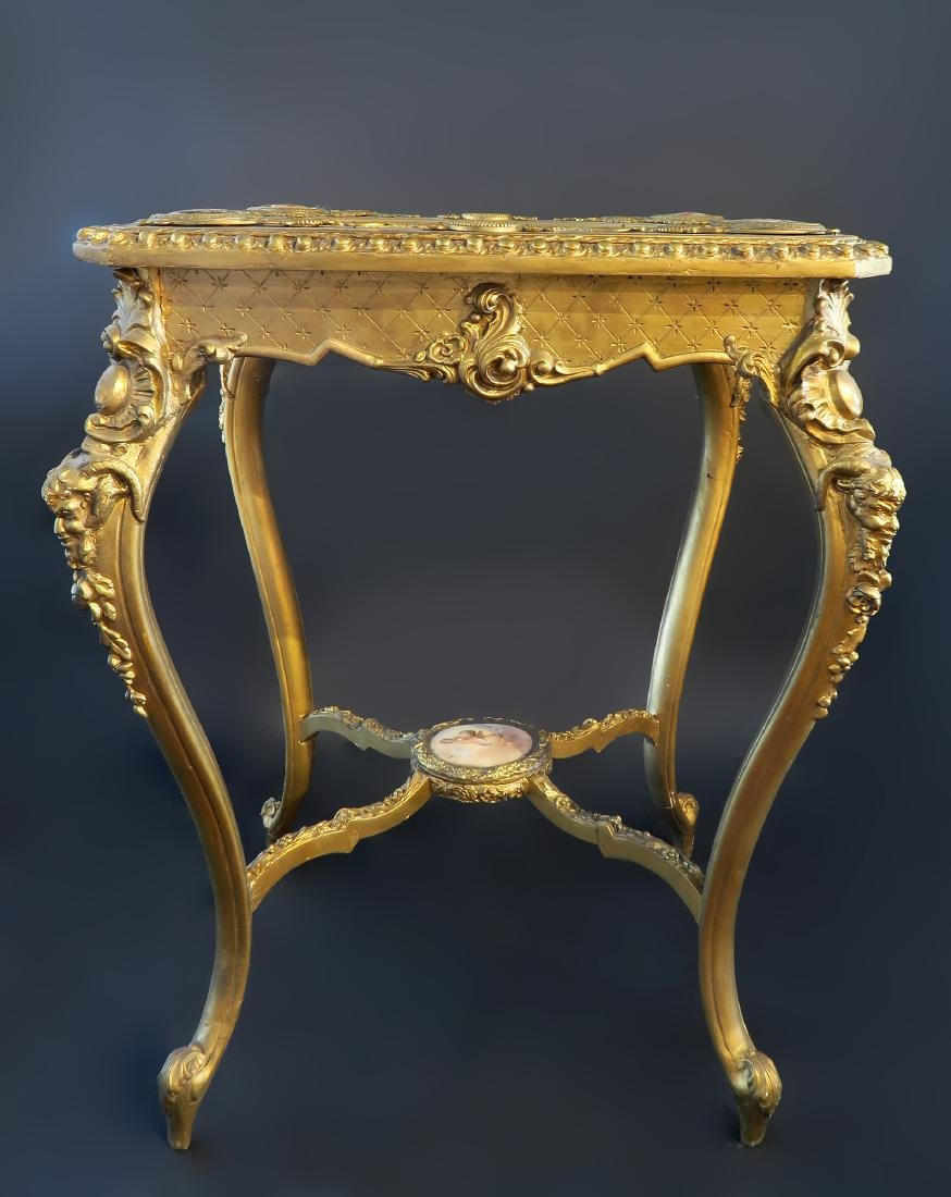 Royal Vienna Gilt wood & Porcelain Side Table - 3