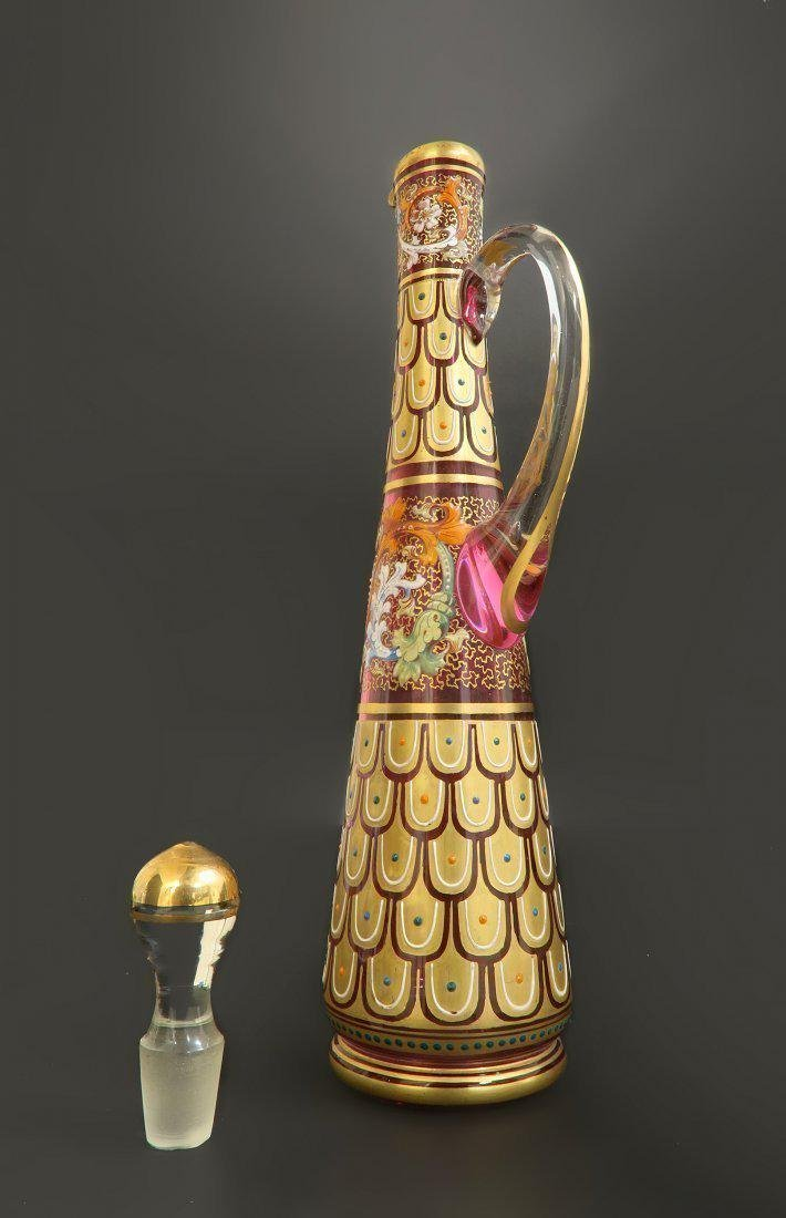 19th C. Enameled Moser Decanter & Glass - 6