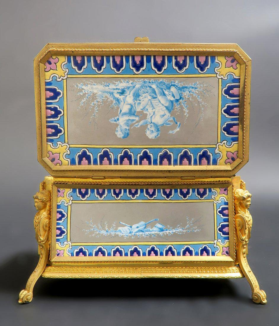 Very Fine French Bronze & Porcelain Figural Jewelry Box - 2