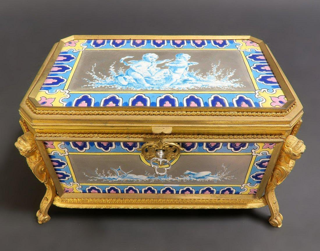 Very Fine French Bronze & Porcelain Figural Jewelry Box - 3