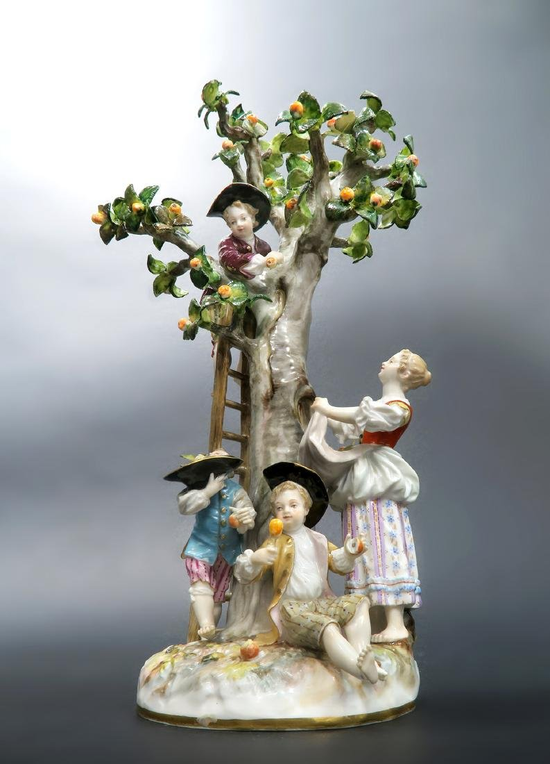 19th C. MEISSEN TREE & APPLE PICKERS FIGURINE GROUP
