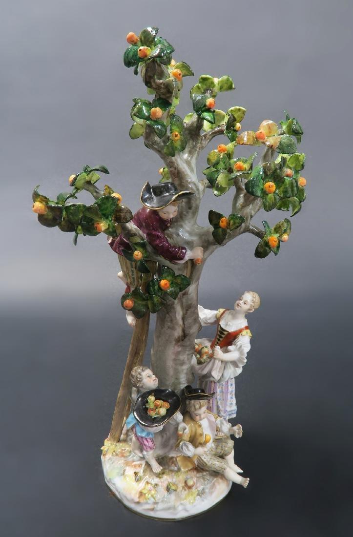 19th C. MEISSEN TREE & APPLE PICKERS FIGURINE GROUP - 5