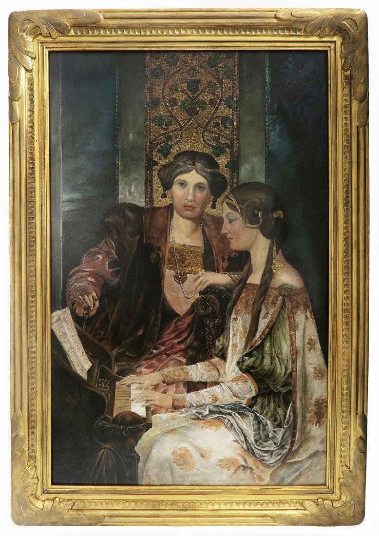 Large 19th C. Continental Oil on Canvas