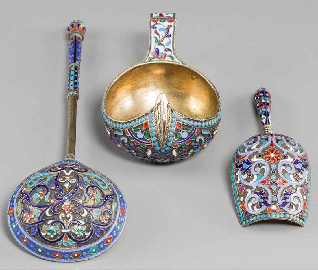 Two Russian Silver & Enamel Cups with Kovsh