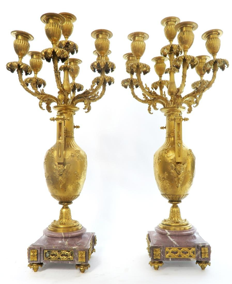 19th C. French Figural Gilt Bronze Clock Set - 10