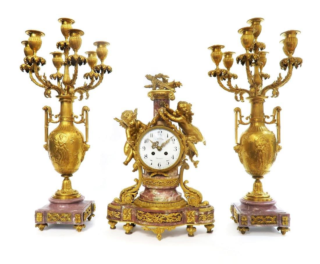 19th C. French Figural Gilt Bronze Clock Set