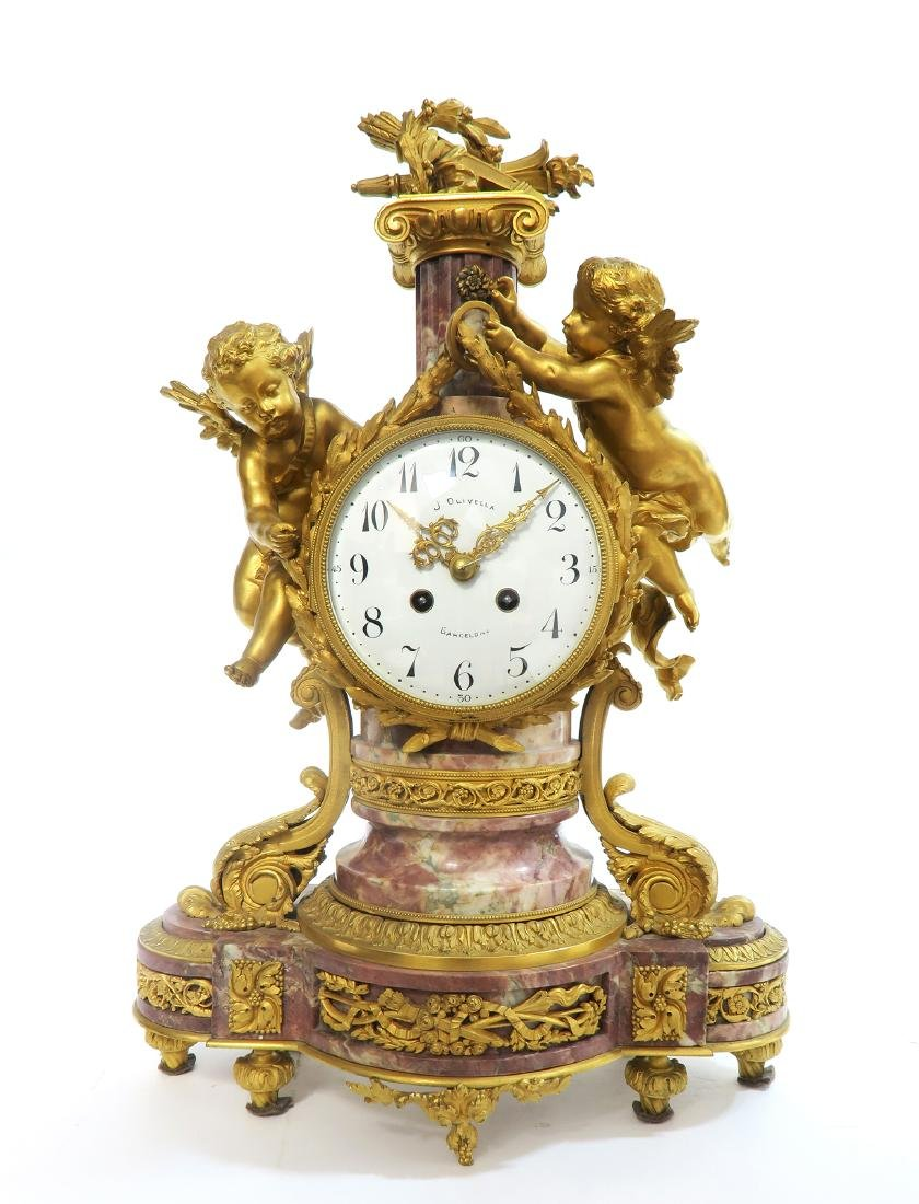 19th C. French Figural Gilt Bronze Clock Set - 2