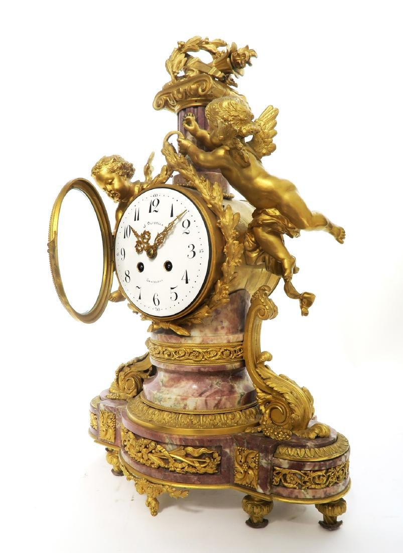 19th C. French Figural Gilt Bronze Clock Set - 3