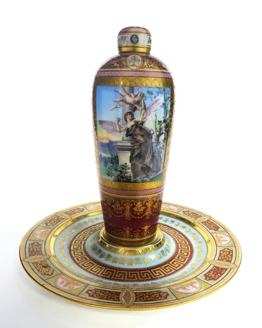 19th C. Royal Vienna Austrian Porcelain Vase On Plate