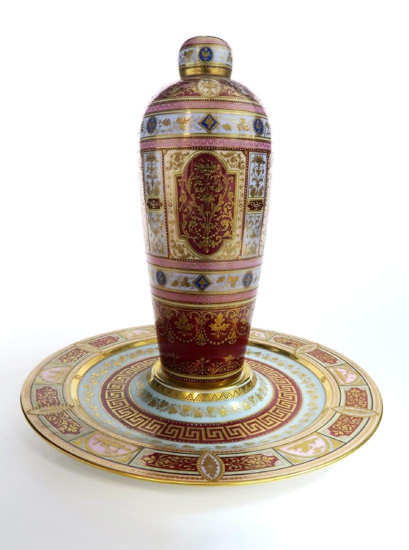 19th C. Royal Vienna Austrian Porcelain Vase On Plate - 2