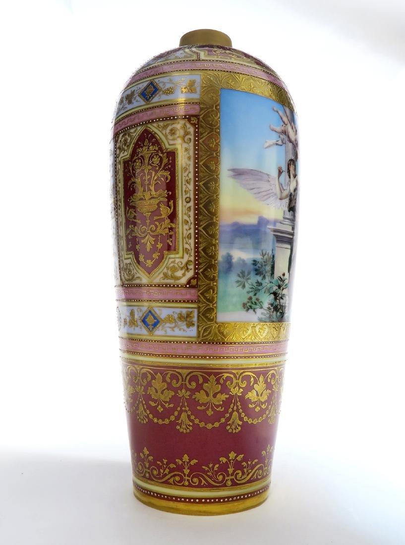 19th C. Royal Vienna Austrian Porcelain Vase On Plate - 3