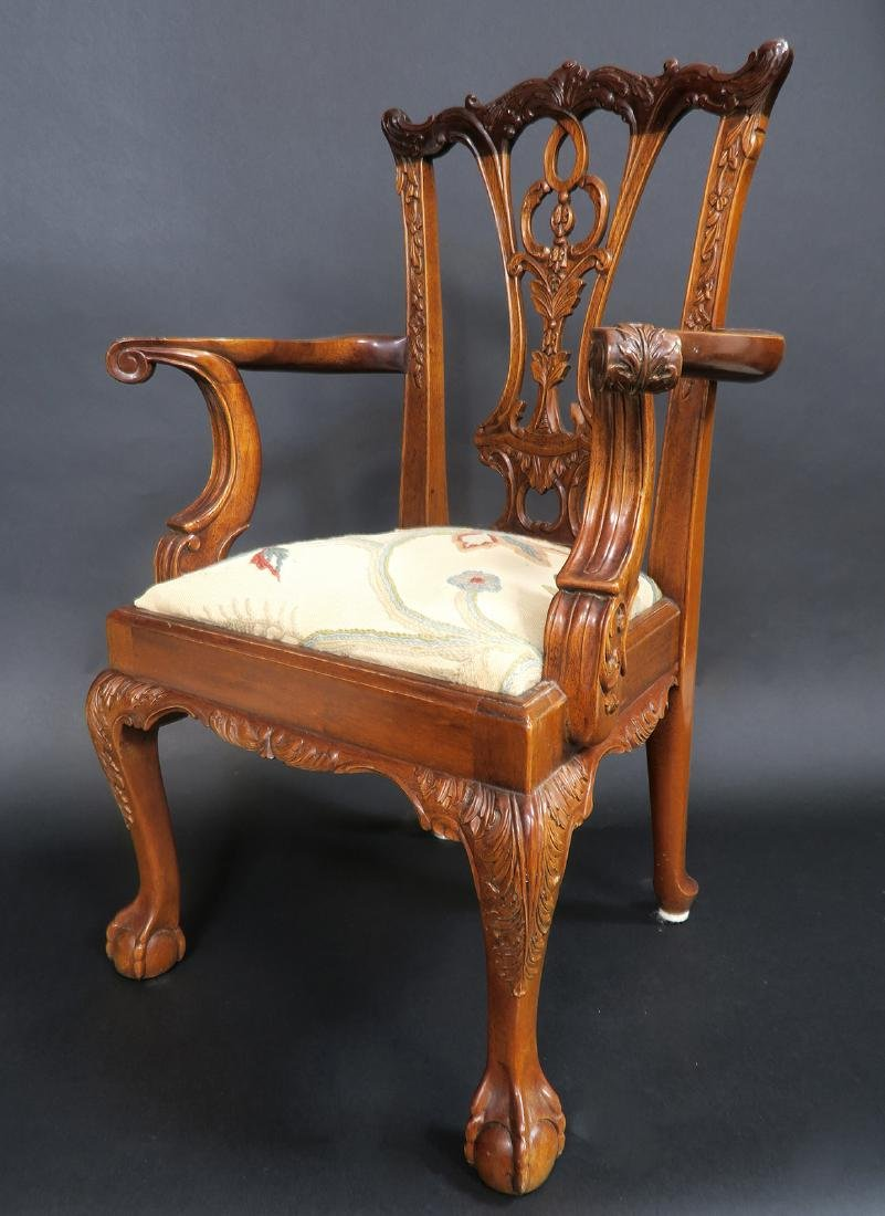 Solid Mahogany Hand Carved Childs Arm Chair - 2