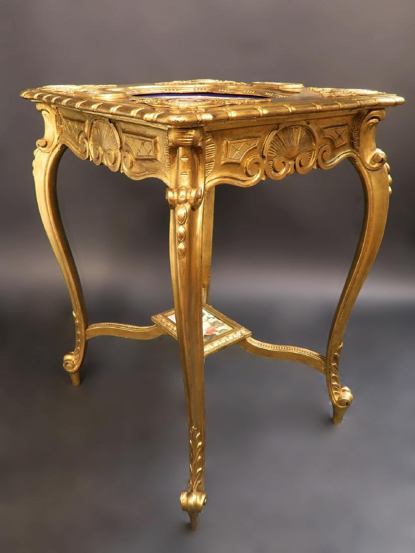 19th C Orientalist Hand Painted Royal Vienna Side Table - 3