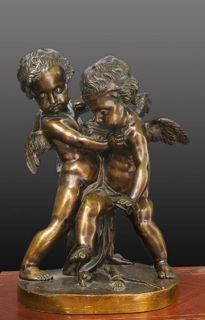 19th C. Large French Bronze Figures of Cherubs
