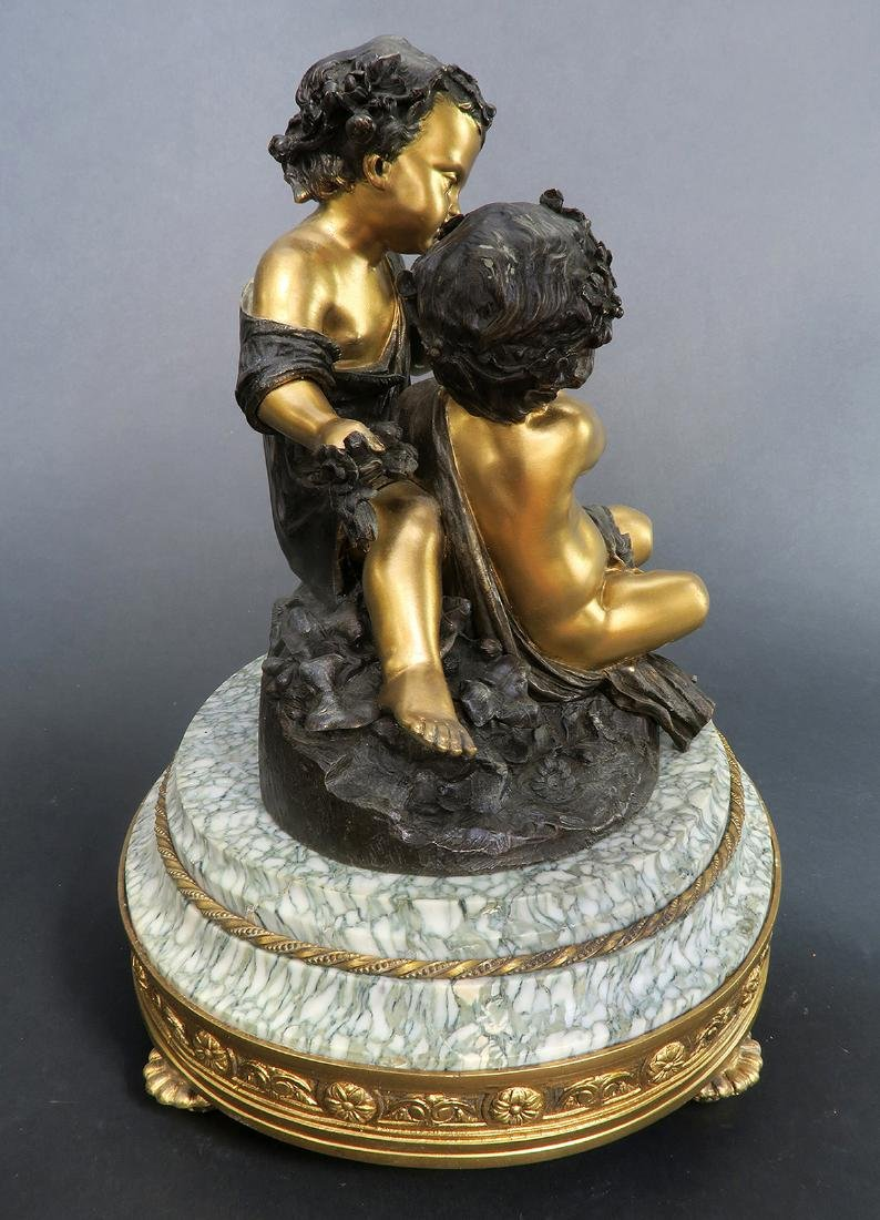 19th C. French Bronze Sculpture On Marble - 5