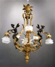 Fine 19th C. French Figural Bronze Chandelier