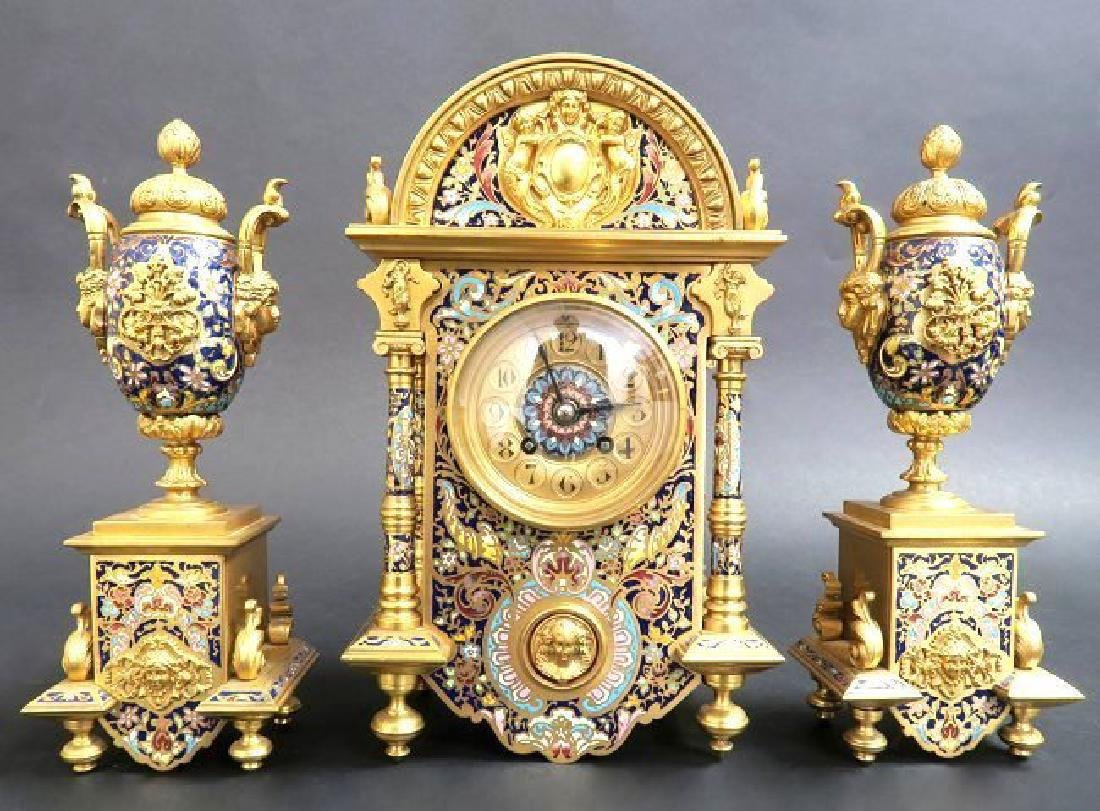 Exceptional French Bronze & Champleve Enamel Clock