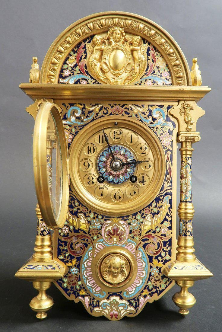 Exceptional French Bronze & Champleve Enamel Clock - 2